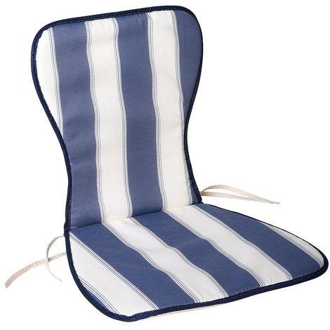 Sillas Con Respaldo Alto.Cojin Azul Blanco Silla Monoblock Respaldo Alto 78x48x2 Cm