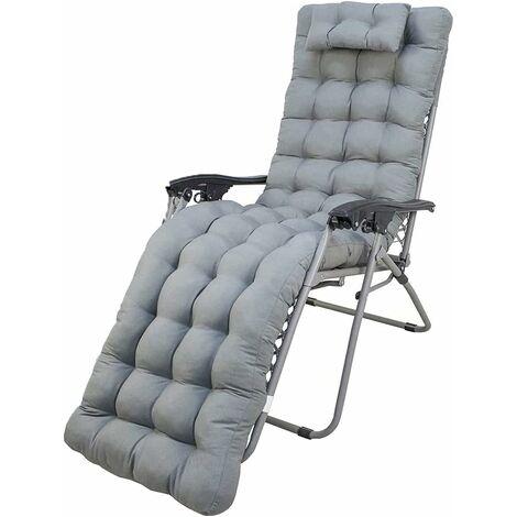 """main image of """"Cojín cómodo, antideslizante y suave para tumbonas de interior y exterior. Tamaño: 180x50x10cm. (Gris)"""""""