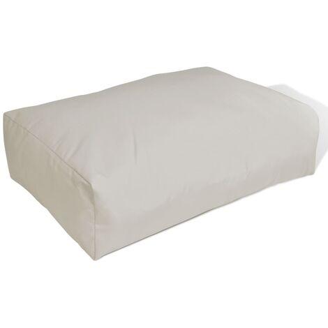 Cojín de respaldo tapizado blanco arena 60x40x20 cm