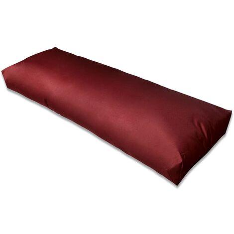 Cojín de respaldo tapizado rojo vino tinto 120x40x10 cm