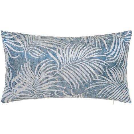 Cojín hojas de palmera azul de poliéster de 50x30cm