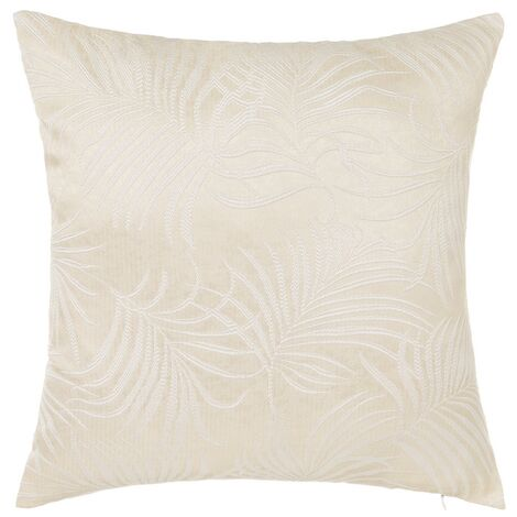 Cojín hojas de palmera beige de poliéster de 45x45 cm