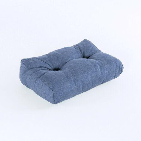 Cojín medio respaldo para palet, Tamaño: 40x60x16 cm, Olefin color azul, Repelente al agua
