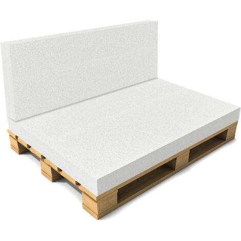 Cojín Respaldo sin funda para sofá de europalés - Blanco - Muebles de jardín 40 x 120 x 8 cm
