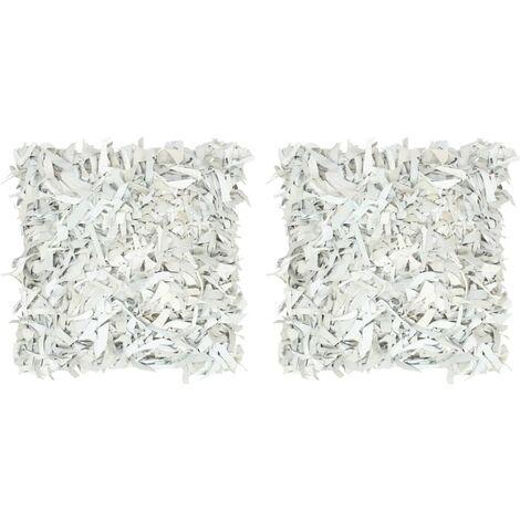 Cojines con flecos 2 uds de cuero y algodón gris claro 45x45 cm