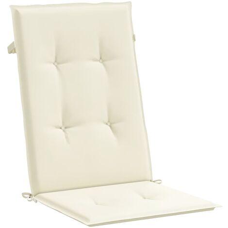 Cojines para sillas de jardín 2 unidades crema 120x50x3 cm