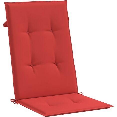 Cojines para sillas de jardín 2 unidades rojos 120x50x3 cm