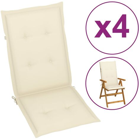 Cojines para sillas de jardín 4 unidades crema 120x50x3 cm
