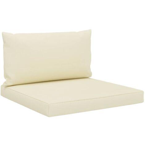 Cojines para sofá de palés 2 piezas tela color crema