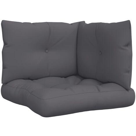 Cojines para sofás de palés 3 piezas tela gris antracita