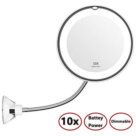 Col de cygne flexible 10x grossissant miroir de maquillage éclairé par LED, miroir de courtoisie à grossissement de salle de bain avec ventouse, pivot à 360 degrés, lumière du jour, à piles, sans fil et miroir de voyage