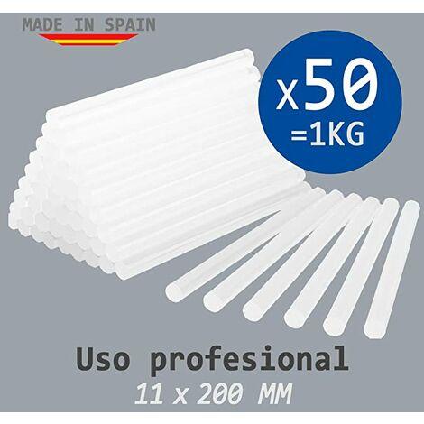 Cola Termofusible Blanca - Bolsa 1Kg = 50 Barras De Silicona Para Pistola Caliente 11Mm X 200Mm - Profesional - (Made In Spain)