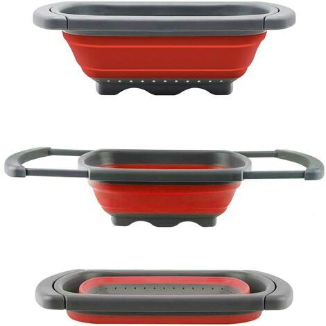 Colador plegable de, para usar encima de fregadero, para vegetales y frutas, con asas extensibles (verde y rojo), Rojo, 39*26*5.5