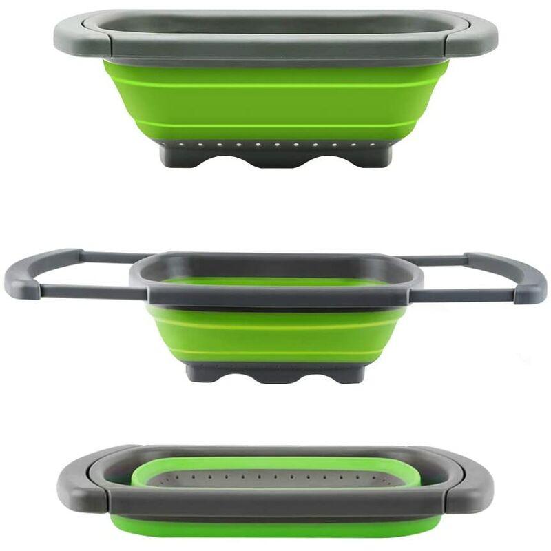 Langray - Colador retráctil colador plegable para poner encima del fregadero para frutas y verduras, colador con asas extensibles - Verde