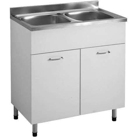 Arredamento Mobile Lavabo Cucina 80x50 Bianco 2 Ante 2 Vasche ...