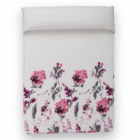 Colcha bouti - Modelo floral blanco y rosa (260x240 cm)
