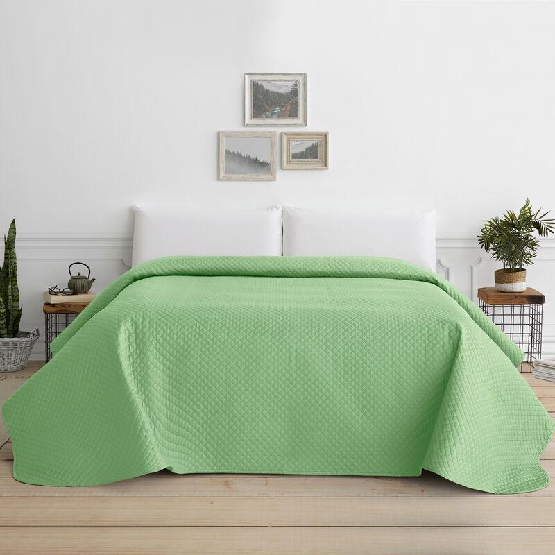 Colcha Bouti para Cama Verano. Colcha cubre cama acolchada reversible Rombos. Cama 90 - 180 x 260 cm. Color Verde Agua.