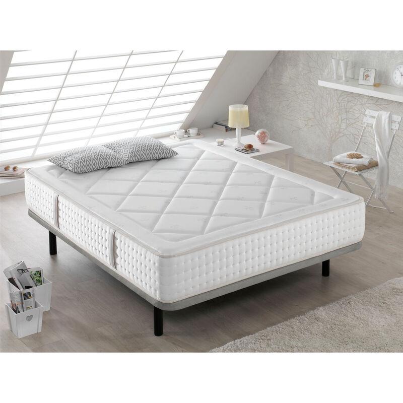 Dormalit - Matratze 90X200 AMELIE +1 Kissen 90X35 -Hohe 30 cm - H4 - Mittlere Festigkeit,Supermildes Schaum, Bequeme Ruhe