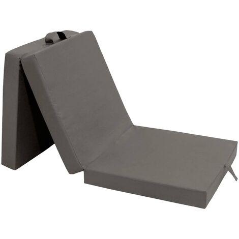 Colchón de espuma plegable en 3 partes 190x70x9 cm gris