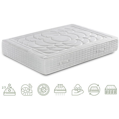 Colchón de Muelles Ensacados con viscoelástica- Efecto Relax 7 zonas de confort - Altura 27 cm   Certificado Sanitized® yOeko-Tex®