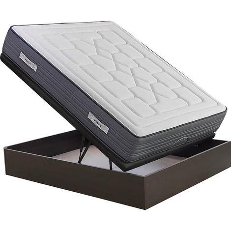 Colchón visco-grafeno Relax Khala 27 cm anti-acaros + Canapé Abatible Relax 3D gran capacidad altura 34 cm