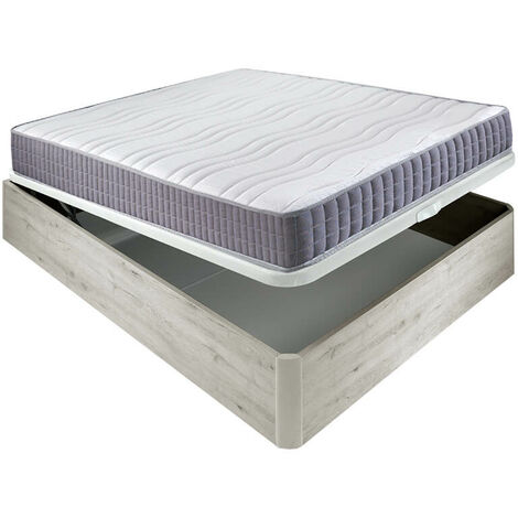 Colchón visco Line 19 cm firmeza alta suavidad y económico + Canapé abatible madera 3D transpirable altura 34 cm