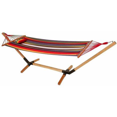 Colchoneta de algodón con marco de madera tumbona para jardín L 200 cm multicolor Harms 504423