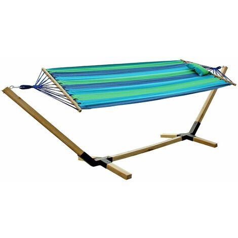 Colchoneta de algodón con marco de madera tumbona para jardín L 200 cm multicolor Harms 504558