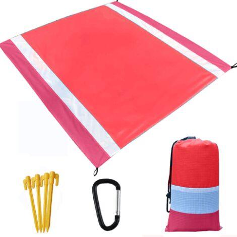 Colchoneta de camping ultraligera resistente al agua con bolsa de almacenamiento Alfombra de playa sin arena Manta de picnic Manta de playa a prueba de arena, rosa y rojo