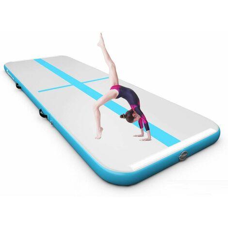 Colchoneta de Gimnasia de 300 cm con Bomba Eléctrica Colchoneta Inflable de Entrenamiento para Yoga con Bolsa de Transporte Azul y Gris