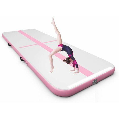 Colchoneta de Gimnasia de 300 cm con Bomba Eléctrica Colchoneta Inflable de Entrenamiento para Yoga con Bolsa de Transporte Rosa y Gris