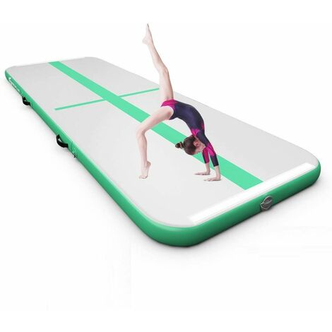 Colchoneta de Gimnasia de 300 cm con Bomba Eléctrica Colchoneta Inflable de Entrenamiento para Yoga con Bolsa de Transporte Verde y Gris