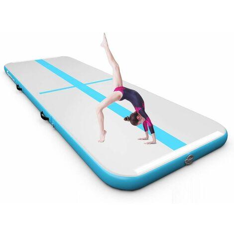 Colchoneta de Gimnasia de 450 cm con Bomba Eléctrica Colchoneta Inflable de Entrenamiento para Yoga con Bolsa de Transporte