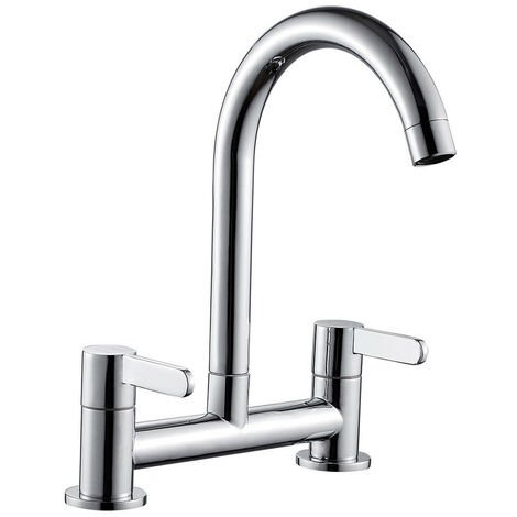 Cold/Hot Kitchen Sink Mixer Taps Lever 2 Hole Deck Mounted