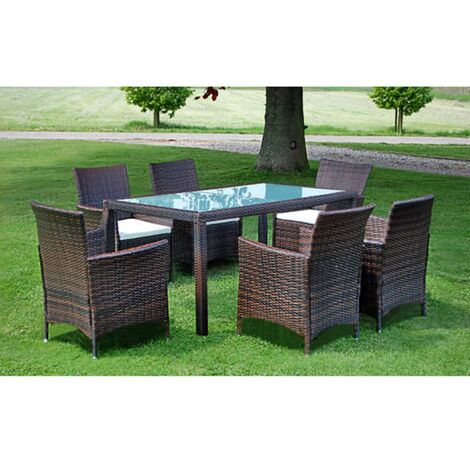 Cole 6 Seater Dining Set with Cushions by Dakota Fields - Brown