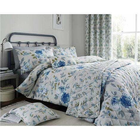 Colette Floral Throw Blue Bedspread 200 x 200cm