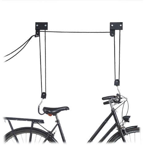 Colgador Bicicleta Techo, Metal, Negro, Hasta 57 kg
