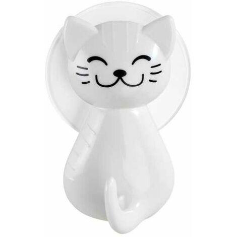 Colgador con ventosa gato blanco