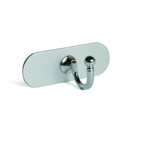 Colgador de pared funcional adhesivo, fabricado en zamak y aluminio, con acabado cromo brillo/anodizado mate y 1 gancho
