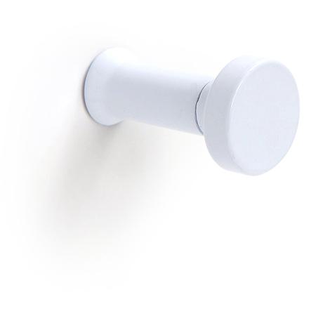 Colgador de pared funcional atornillable, fabricado en aluminio, con acabado blanco y 1 percha