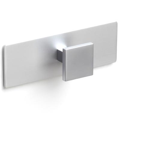 Colgador de pared moderno adhesivo, fabricado en zamak y aluminio, con acabado cromo mate/anodizado mate y 1 pomo