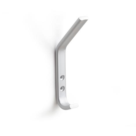 Colgador de pared moderno atornillable, fabricado en aluminio, con acabado anodizado mate y 2 perchas