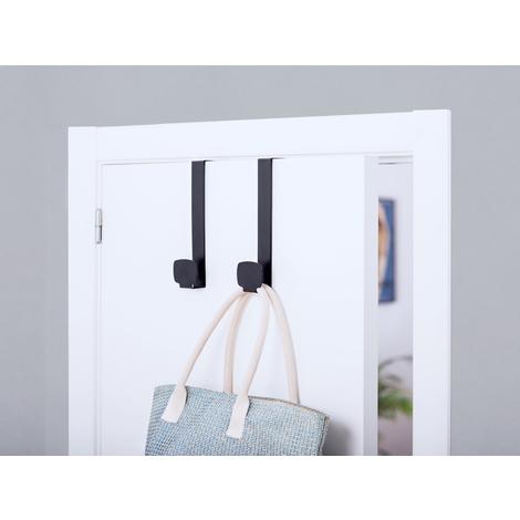 Colgador de puerta juvenil colgante, fabricado en acero, con acabado negro mate y 1 perchas