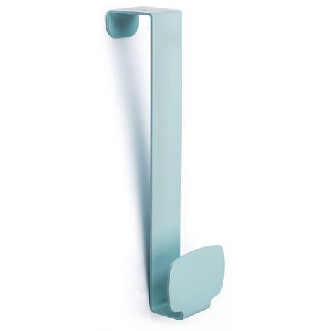 Colgador de puerta juvenil colgante, fabricado en acero, con acabado verde aguamarina y 1 perchas
