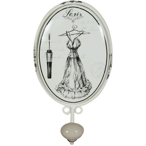 """Colgador mural """"Le Bain"""" vestido de hierro forjado acabado con efecto blanco envejecido"""