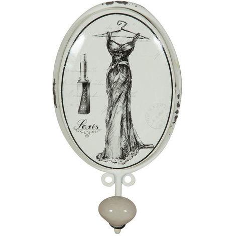 """Colgador mural """"Le Bain"""" vestito blanco de hierro forjado acabado con efecto blanco envejecido"""