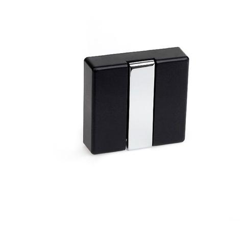 Colgador plegable moderno atornillable, fabricado en zamak, madera y plástico, con acabado negro y 1 percha