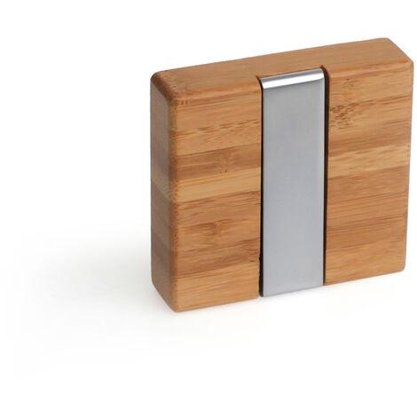 Colgador plegable moderno atornillable, fabricado en zamak, madera y plástico, con acabado roble transparente y 1 percha