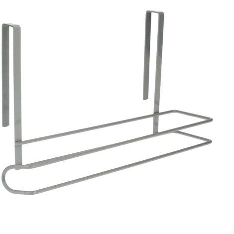 Colgador Portarrollos Papel Cocina, Acero Para Puertas, Encimeras, Muebles. 32,5x18x10 cm.