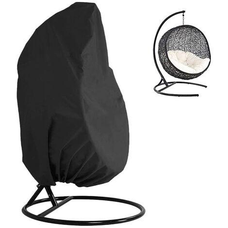 Colgando 210D cubierta de la silla del huevo articulo Ligero oscilacion huevo impermeable cubierta de la silla sin cremallera ajusta a la mayoria al aire libre solo golpe huevo Silla protector de polvo (75 '' x 45 '', Negro), Negro, sin cremallera